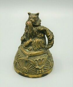 Cloche de table en bronze, chat et ses petits, tête mobile, clochette, XIXe