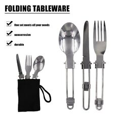 New listing Portable Stainless Steel Folded Fork Spoon Knife Picnic Camping hiking Cutlery