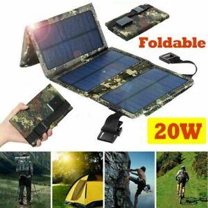 20W Solarpanel Solarmodul Akku Power Bank Handy USB Ladegerät Camping Wandern ZP