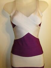 Dress XS Bodycon High Quality Bandage Color Block Off Purple Cocktail Sexy Party