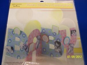 Baby Shower Blue Pink Letter Party Decoration Stand-Up Photo Holder Centerpiece