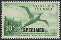 AUSTRALIA NORFOLK ISLAND 1961 10 SHILLINGS RED TAILED BIRD S.G. 36 SPECIMEN OVPT