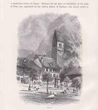 Unterseen Interlaken-Oberhasli Bödeli HOLZSTICHE um 1880 Schweiz