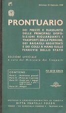 FERROVIE STATO PRONTUARIO PREZZI BIGLIETTI TRASPORTO FRATELLI POZZO 3 1949 TRENO