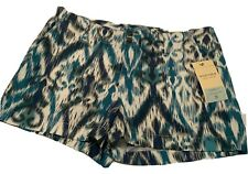 Sonoma Shorts Women's Size 16 New With Tags Blue Green Geometrics (Sho064.1)