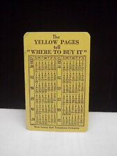 Vintage Yellow Pages New Jersey Bell Telephone Company Pocket Calendar 1937