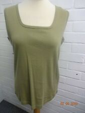 BNWT Green Cotton Square Neck Vest Top from Classics  Size 16/18