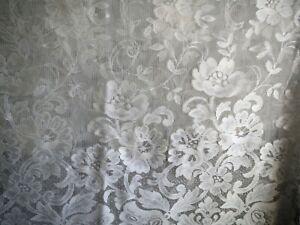 JC Penny 6 Piece White Ivory Lace Curtain Valence Tie Back 54 x 92 Farmhouse USA