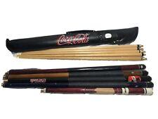 Custom Bundle Lot Of 5 Pool Cue Sticks Harvard, Sports Craft, Coca Cola
