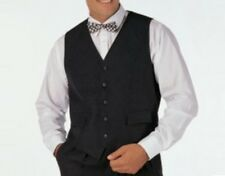 Wedding Self Back Black Fully Lined Button Front Polyester Waistcoat Waiter