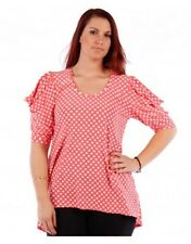 Womens Yummy Plus Size Hi-Lo Hem Knit Coral Polka Dot Open Sleeve Top 1X Slinky