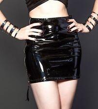 Latex Faux Look Glossy Black Skirt Silver Back Zip