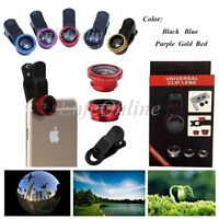 Clip-on 3in1 Fish Eye,Macro Camera,Wide Angle Lens For Apple iPhone / Cell phone
