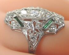 Antique Deco Diamond Engagement Dinner Platinum Ring Size 8.5 UK-Q1/2 EGL USA