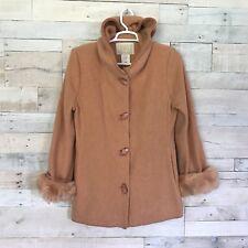 Lundstrom Laparka Orange Wool Blend Hooded Coat Jacket 8 Medium Made In Canada