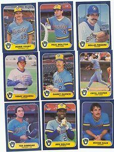 1986 Fleer Milwaukee Brewers Complete Team Set!! Robin Yount Paul Molitor ++