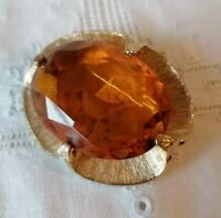 Vintage 1950s Yellow Honey Amber Glass 60s Faceted Modernist Gold Tone Brooch