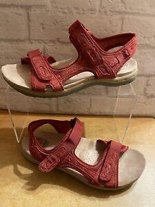 Earth Spirit UK 7 Anti Shock System Ladies Red Adjustable Sandals Casual Comfys