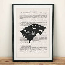 Game Of Thrones Book Page Art Winter Is Coming Stark Art Print Quote