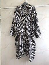 Sahara Boho Lagenlook Grey Ivory Striped Handkerchief Hem Over Dress L 16