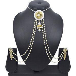Indian Ethnic Ambuda Pearl Chain Earrings Wedding Juda Choti Pin Hair Jewelry