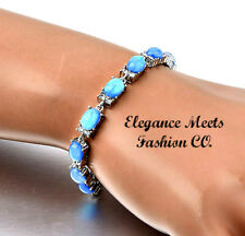 Blue Fire Opal and white sapphire Tennis Bracelet