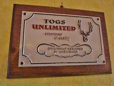 plaque de magasin-support publicitaire chevignon-togs unlimited-cerf-stag