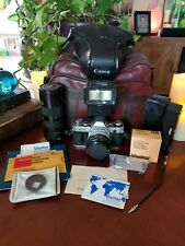 Vintage Canon SLR AE-1 35mm Camera w Attachments Multiple Lenses Flash & Winder!