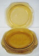 4 Indiana Glass Amber Recollection Dinner Plates 10 3/8 Plate Lot Federal Madrid