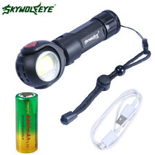 4000LM 360° Rotatable T6 + COB Military LED Flashlight USB Rechargeable Torch