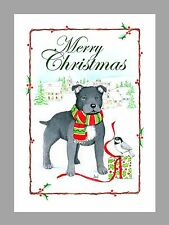 Staffordshire Bull Terrier Black Christmas Cards Boxed, 16 Cards & 16 Envelopes