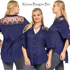 New Ladies Blue Top With Lace Plus Size 14/1XL (9715)JL