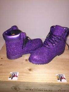 "Hand Customized ""Purple Reign"" Timberland 6 inch Boot (Made by the order)"