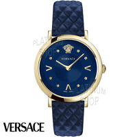 Versace VEVD00319 Pop Chic Lady blue gold Leather Women's Watch NEW