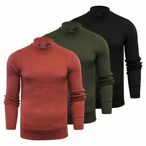 Mens Jumper Brave Soul Mutant Ribbed Turtle Neck Knitted Sweater