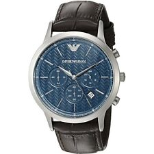 Emporio Armani AR2494 Men's Dress Chronograph Blue Dial Brown Leather Watch
