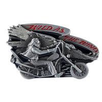 Alloy Metal Men's Western WILD AS THE WIND Vintage Leather Belt Buckle Cowboy