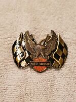 Harley-Davidson Belt Buckle by Baron ©1983 Eagle with Checker Flags. NEW. VIN.