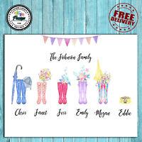 Personalised Family Wellies Wellington Boot Print - Housewarming Gift Christmas