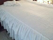 Vintage Quilted Bedspread 2 Shams Dbl Eyelet Ruffle Sweet Cottage Twin 80x84