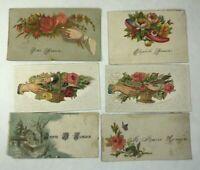 Antique Victorian Scrap Hidden Name HANSON HANSEN Calling Card Lot