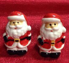"Christmas Holiday Ceramic Salt & Pepper Shaker 2pc Set Of Santa Clause 2.75"""