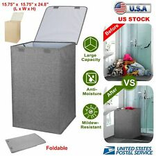 Foldable Washing Laundry Basket Hamper Bag Clothes Storage Save Space With Lid
