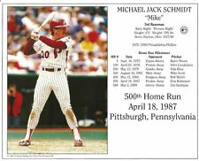 MIKE SCHMIDT 8x10 PHOTO 500 HR Club PHILADELPHIA PHILLIES Vintage Baseball Card
