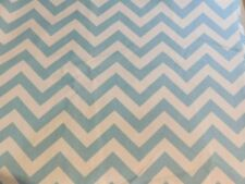 310  Creamy White and Aqua Blue Chevron Broadcloth Fabric 2 yds X 56""