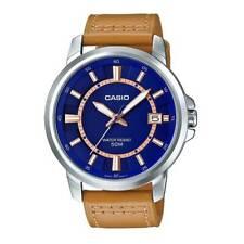 Casio MTP-E130L-2A2 Analogico Cuero Reloj de Hombre Correa Esfera Azul Wr 50M