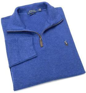 Polo Ralph Lauren Quarter Zip Cotton Sweater In Blue RRP£120