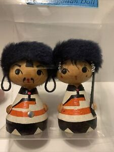 mongolian wooden dolls. excellent condition. couple.