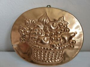 Vintage Copper Pie or Jelly Mould With Fruit Decoration and Wall Hanging Hook