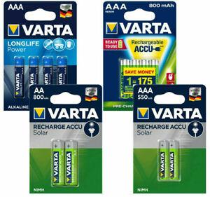 Varta Power Akkus Accus und Batterien AAA Micro AA Mignon Neuware aus 2021